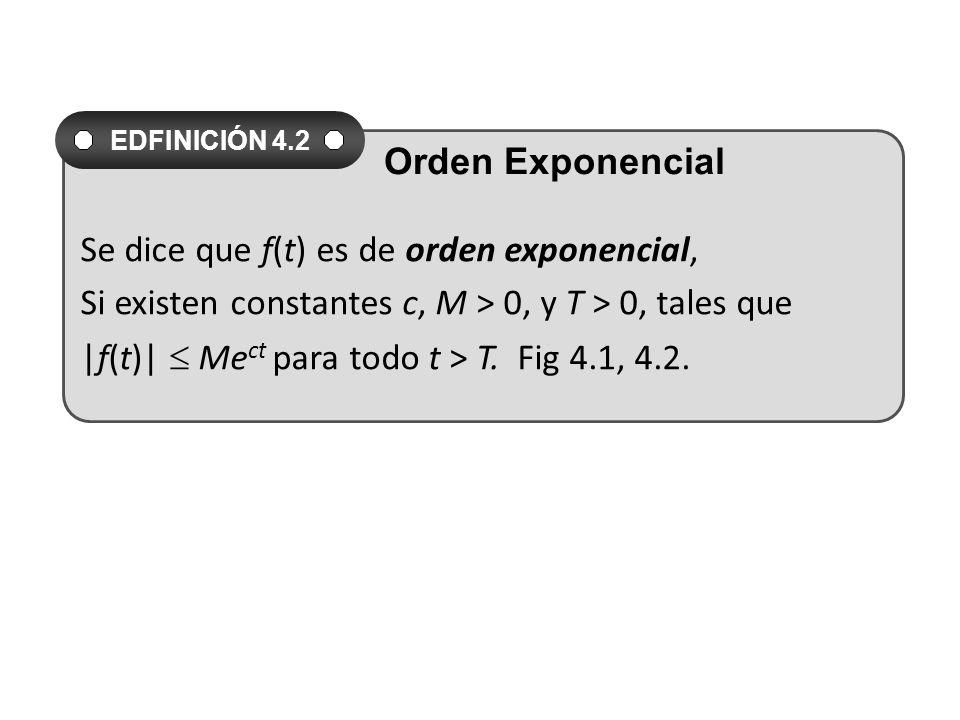 Se dice que f(t) es de orden exponencial, Si existen constantes c, M > 0, y T > 0, tales que |f(t)| Me ct para todo t > T.