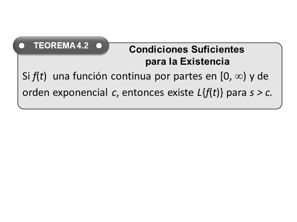 Si f(t) una función continua por partes en [0, ) y de orden exponencial c, entonces existe L{f(t)} para s > c.