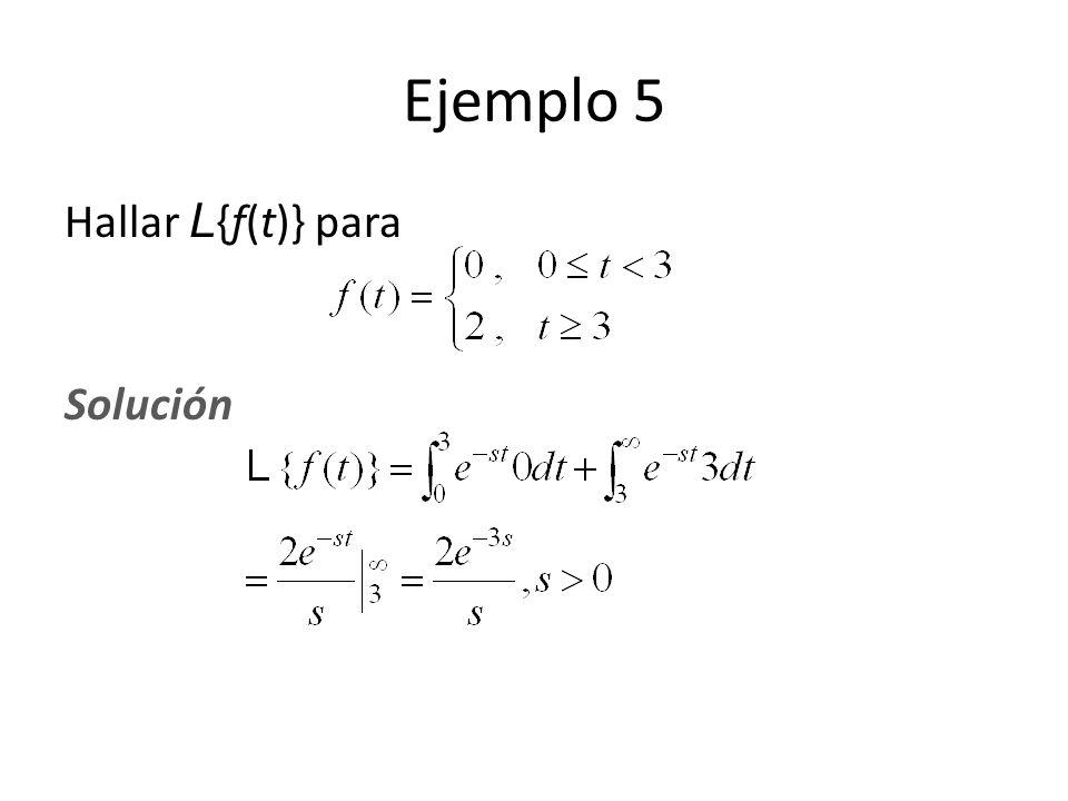 Ejemplo 5 Hallar L {f(t)} para Solución