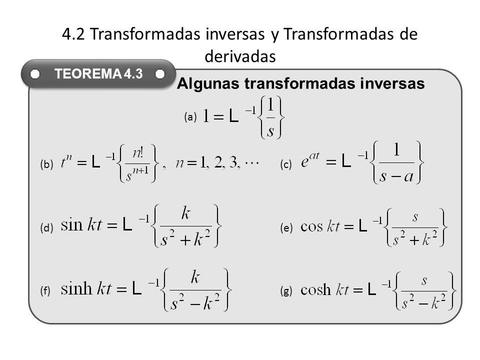 4.2 Transformadas inversas y Transformadas de derivadas (a) (b)(c) (d)(e) (f)(g) TEOREMA 4.3 Algunas transformadas inversas