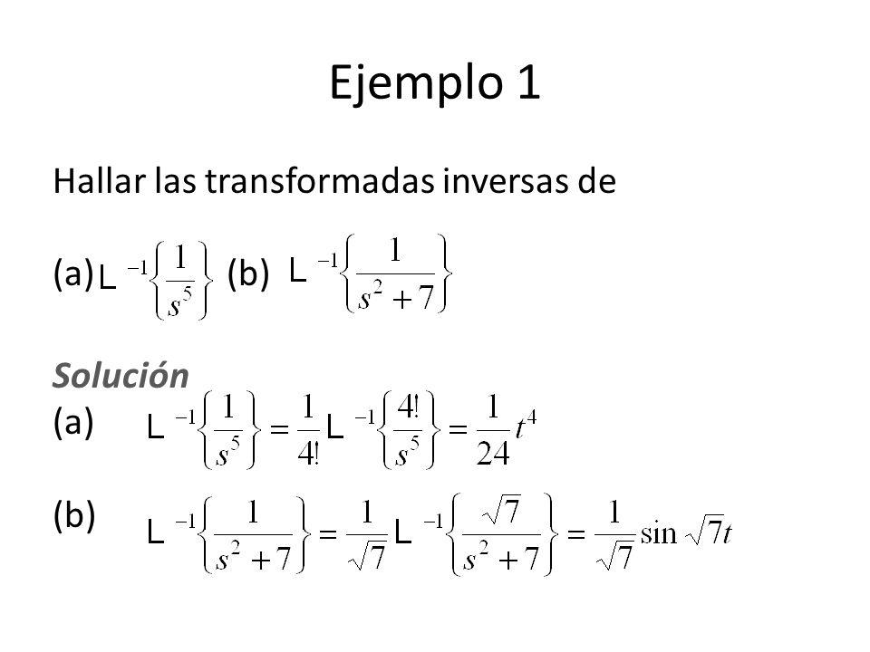 Ejemplo 1 Hallar las transformadas inversas de (a) (b) Solución (a) (b)