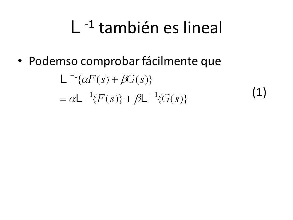 L -1 también es lineal Podemso comprobar fácilmente que (1)