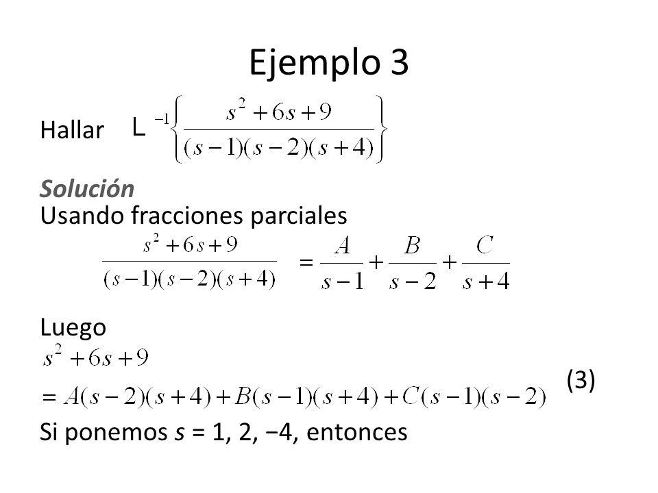 Ejemplo 3 Hallar Solución Usando fracciones parciales Luego (3) Si ponemos s = 1, 2, 4, entonces