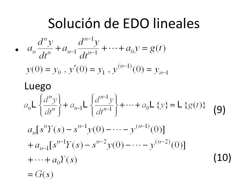 Solución de EDO lineales Luego (9) (10)