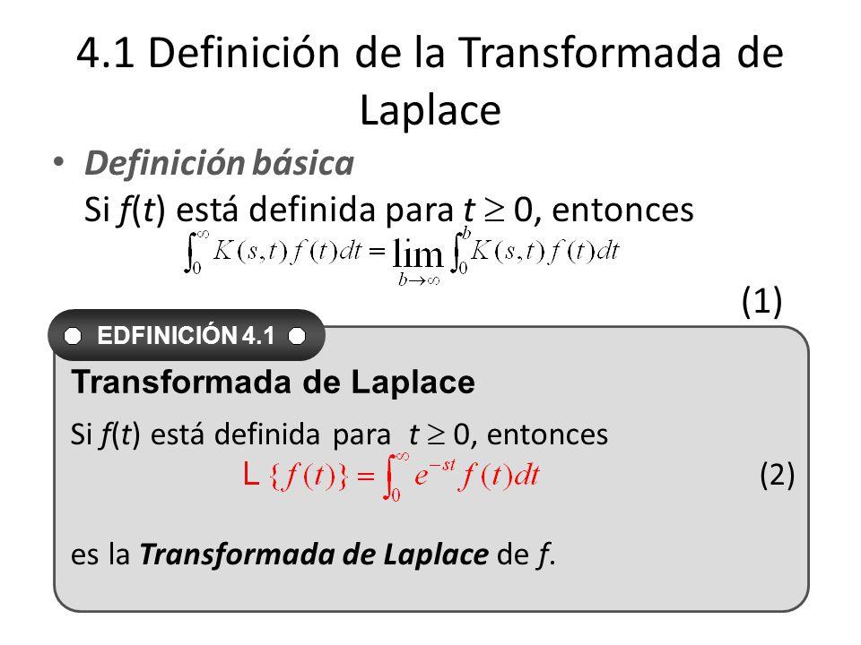 4.1 Definición de la Transformada de Laplace Definición básica Si f(t) está definida para t 0, entonces (1) Si f(t) está definida para t 0, entonces (2) es la Transformada de Laplace de f.