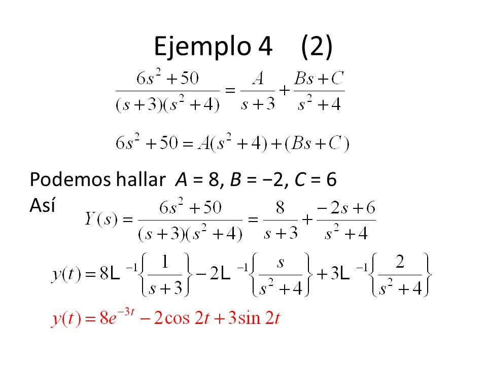 Podemos hallar A = 8, B = 2, C = 6 Así Ejemplo 4 (2)