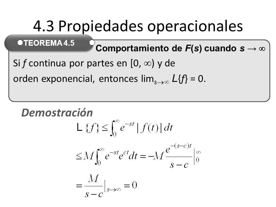 Si f continua por partes en [0, ) y de orden exponencial, entonces lim s L {f} = 0.