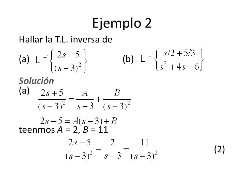 Hallar la T.L. inversa de (a) (b) Solución (a) teenmos A = 2, B = 11 (2) Ejemplo 2