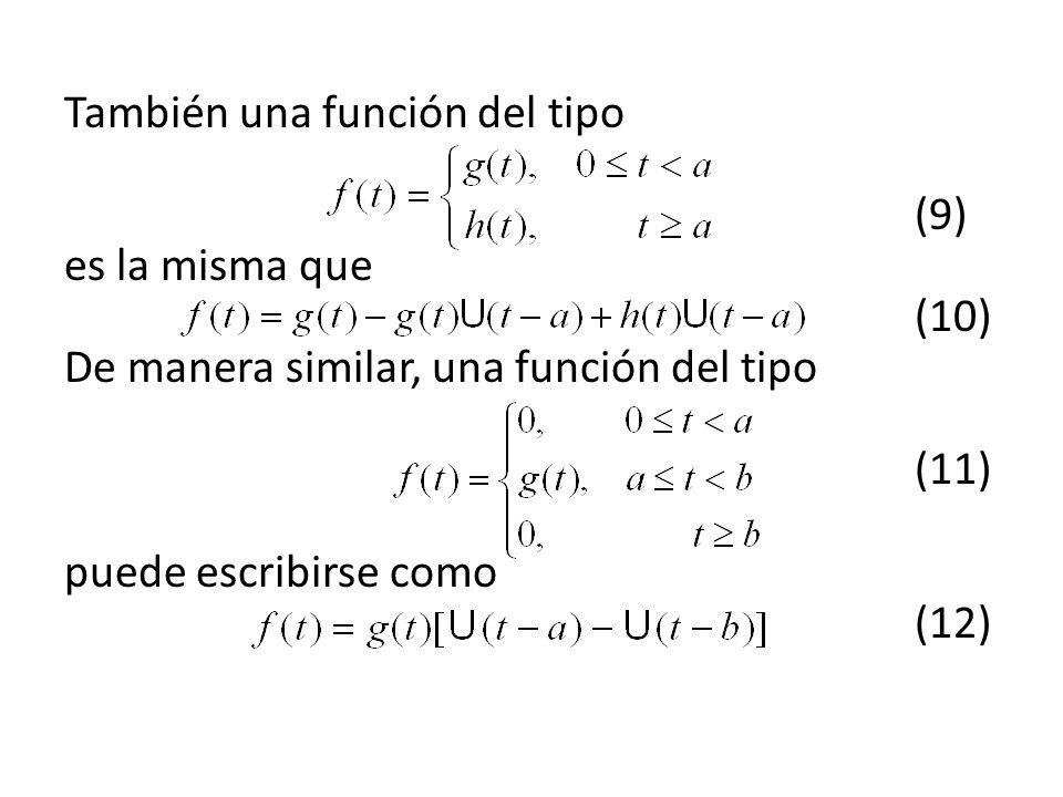 También una función del tipo (9) es la misma que (10) De manera similar, una función del tipo (11) puede escribirse como (12)