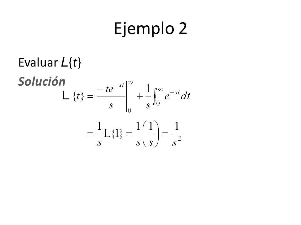 Evaluar L {t} Solución Ejemplo 2