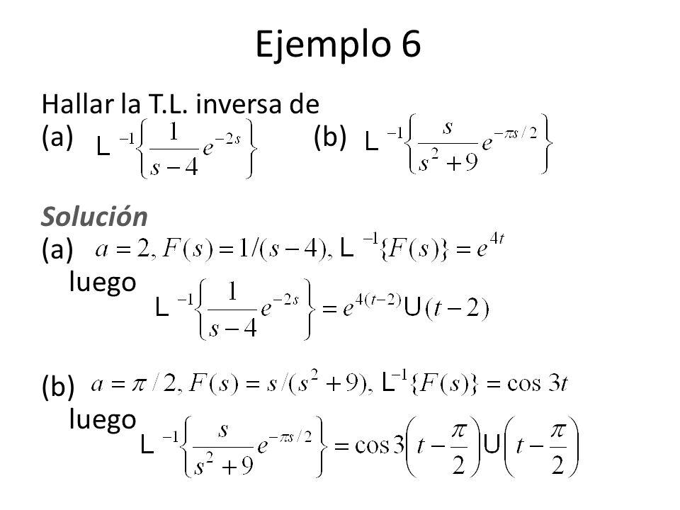 Ejemplo 6 Hallar la T.L. inversa de (a) (b) Solución (a) luego (b) luego