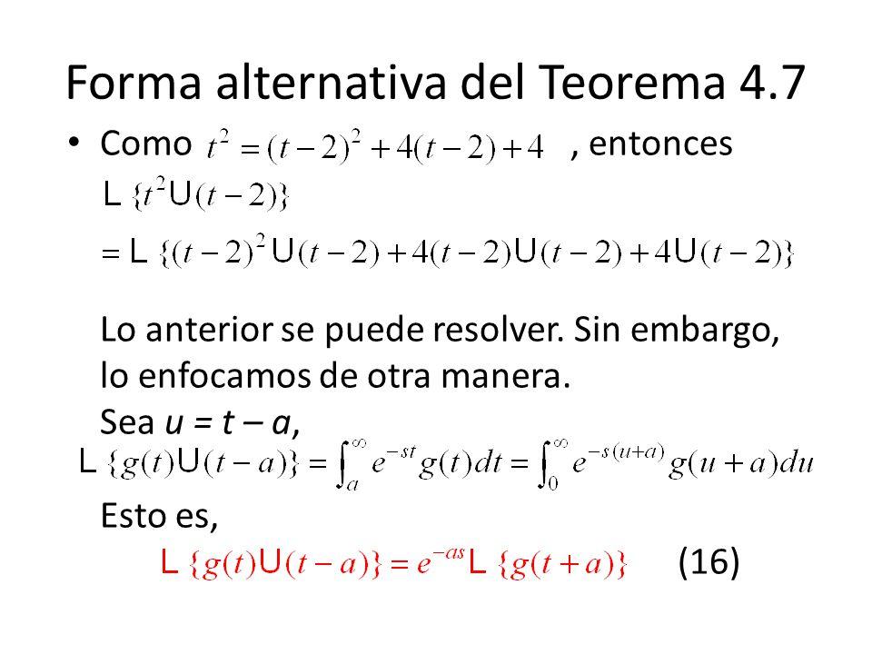 Forma alternativa del Teorema 4.7 Como, entonces Lo anterior se puede resolver.