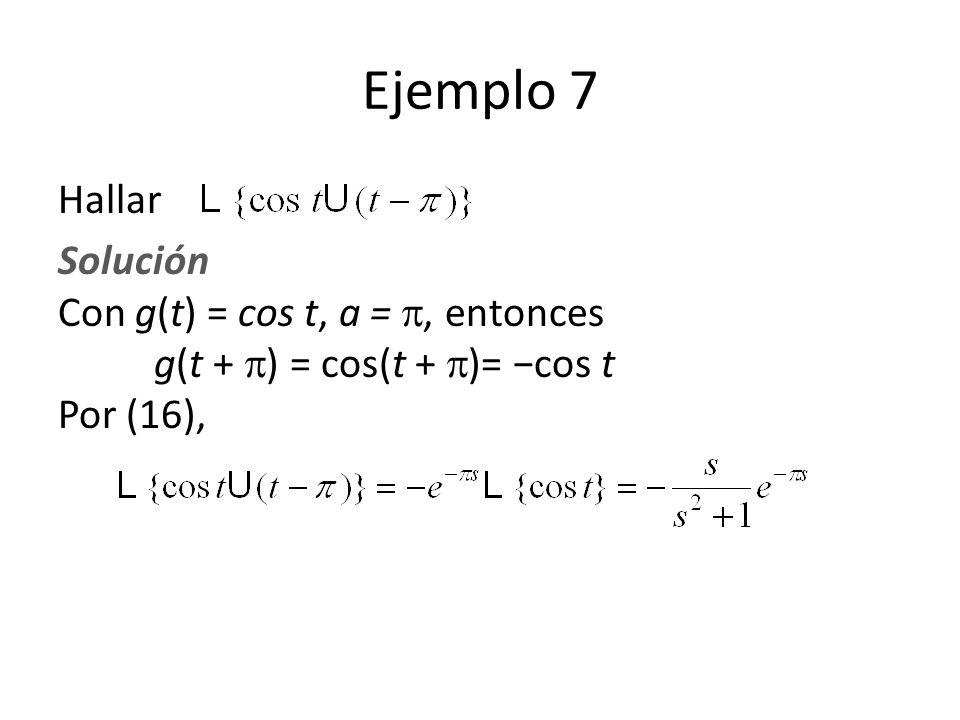 Hallar Solución Con g(t) = cos t, a =, entonces g(t + ) = cos(t + )= cos t Por (16), Ejemplo 7