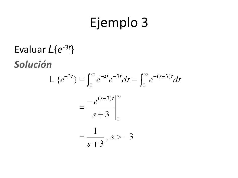 Evaluar L {e -3t } Solución Ejemplo 3