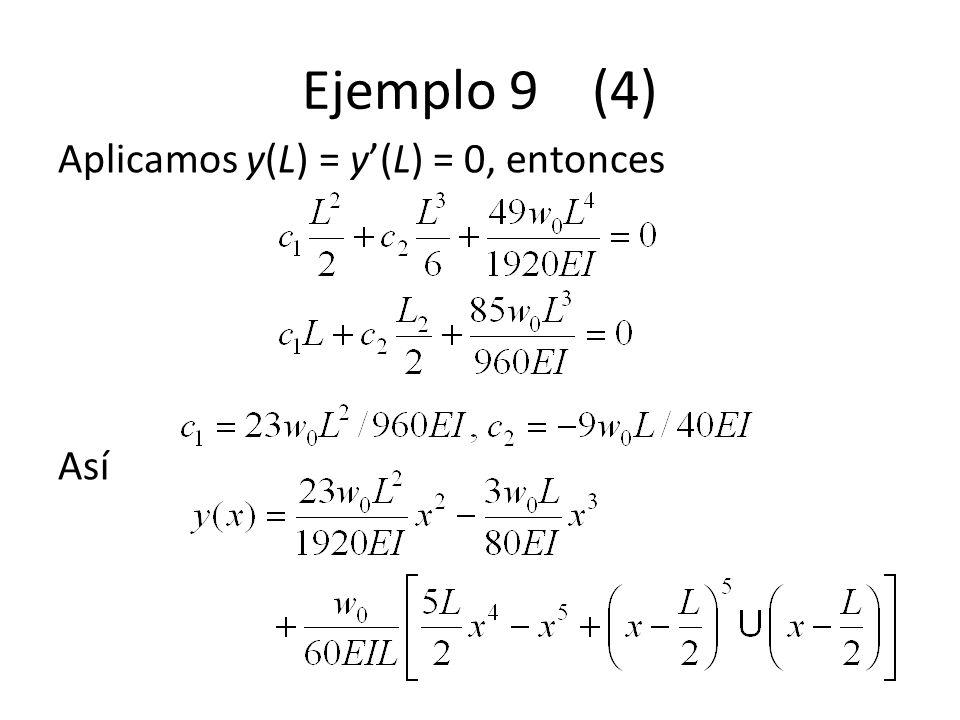 Ejemplo 9 (4) Aplicamos y(L) = y(L) = 0, entonces Así