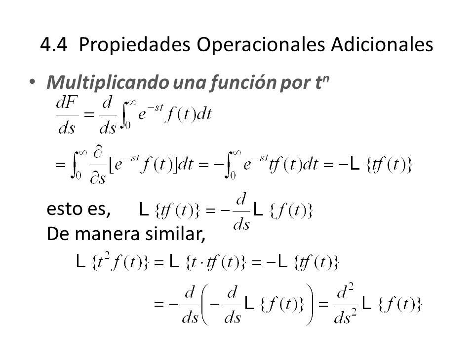 4.4 Propiedades Operacionales Adicionales Multiplicando una función por t n esto es, De manera similar,