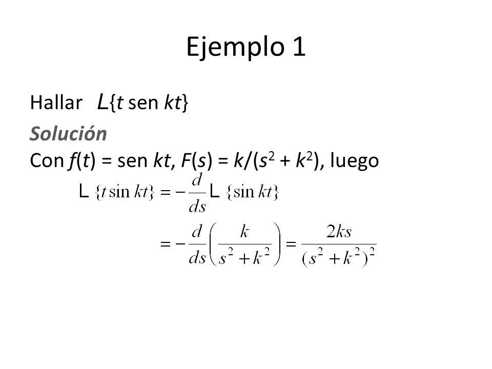 Ejemplo 1 Hallar L {t sen kt} Solución Con f(t) = sen kt, F(s) = k/(s 2 + k 2 ), luego