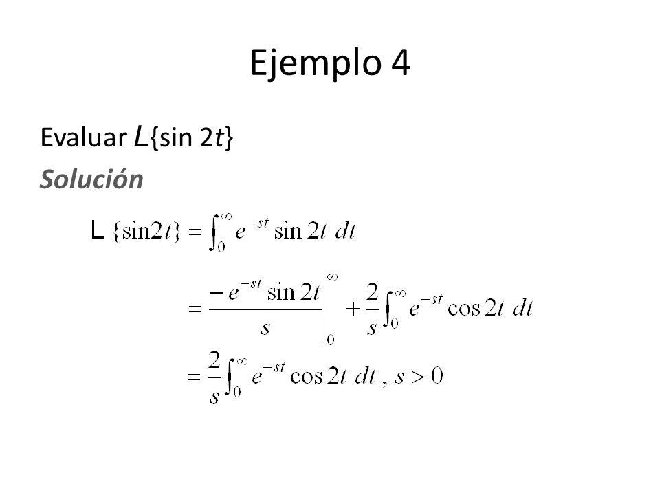 Evaluar L {sin 2t} Solución Ejemplo 4