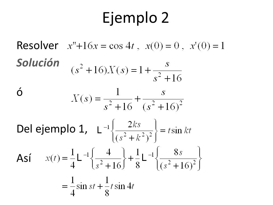 Resolver Solución ó Del ejemplo 1, Así Ejemplo 2