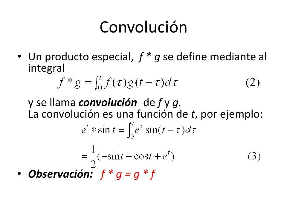 Convolución Un producto especial, f * g se define mediante al integral y se llama convolución de f y g.