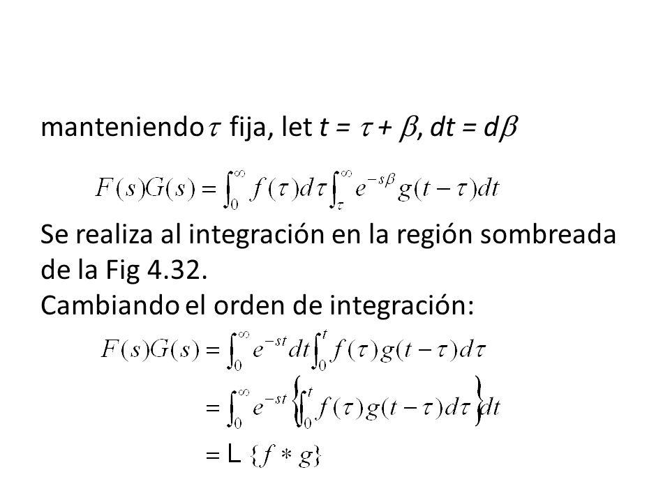 manteniendo fija, let t = +, dt = d Se realiza al integración en la región sombreada de la Fig 4.32.