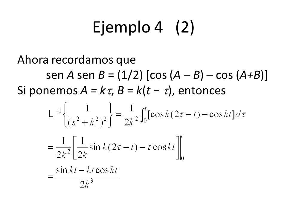 Ejemplo 4 (2) Ahora recordamos que sen A sen B = (1/2) [cos (A – B) – cos (A+B)] Si ponemos A = k, B = k(t ), entonces