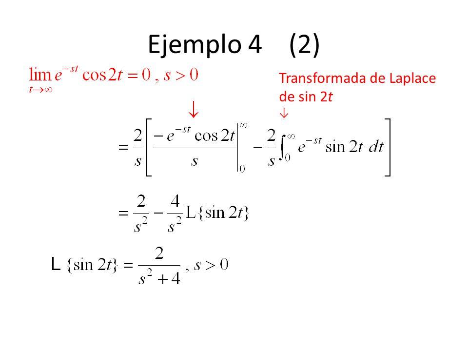 Ejemplo 4 (2) Transformada de Laplace de sin 2t