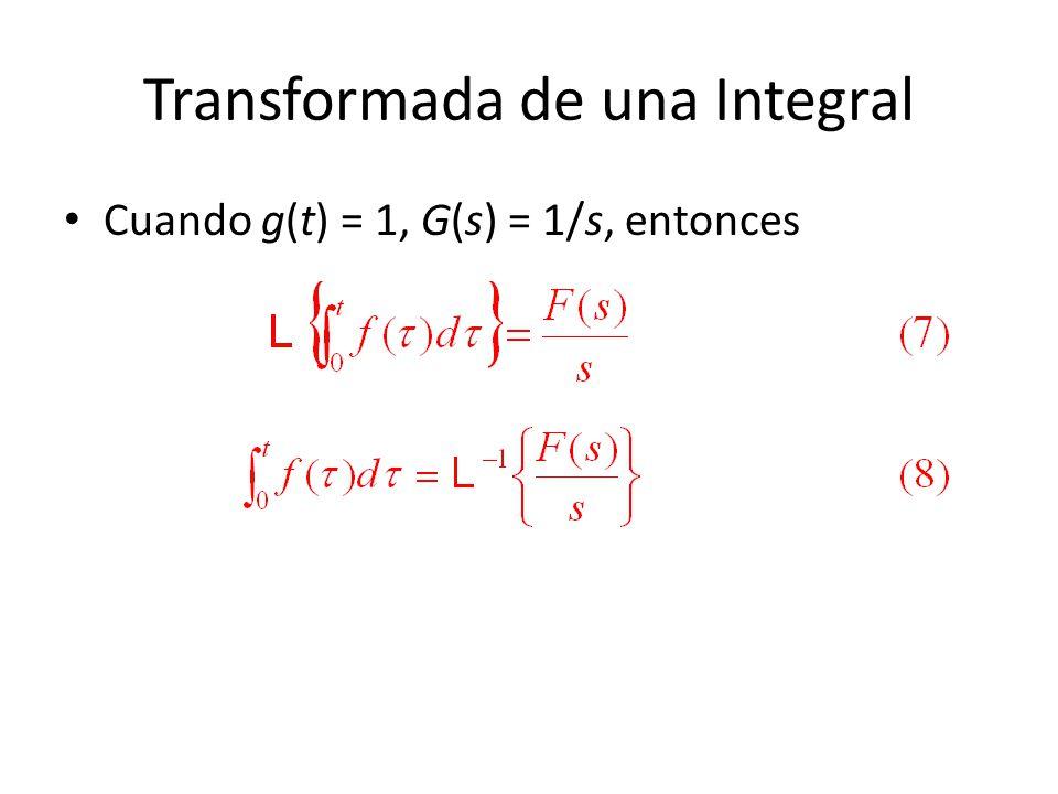 Transformada de una Integral Cuando g(t) = 1, G(s) = 1/s, entonces