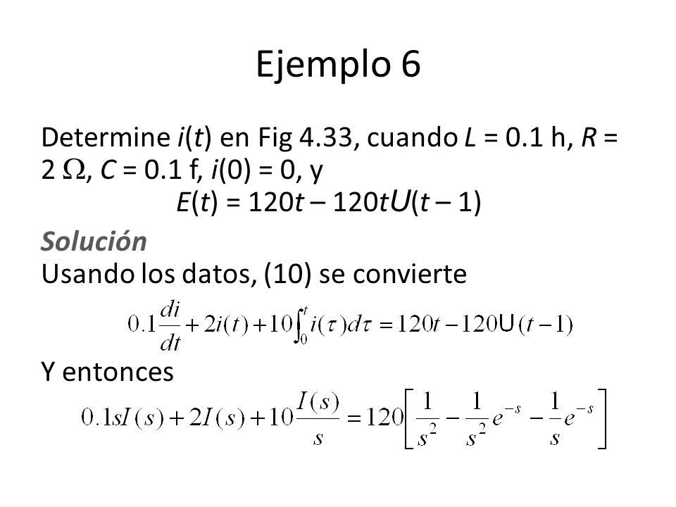 Ejemplo 6 Determine i(t) en Fig 4.33, cuando L = 0.1 h, R = 2, C = 0.1 f, i(0) = 0, y E(t) = 120t – 120t U (t – 1) Solución Usando los datos, (10) se convierte Y entonces