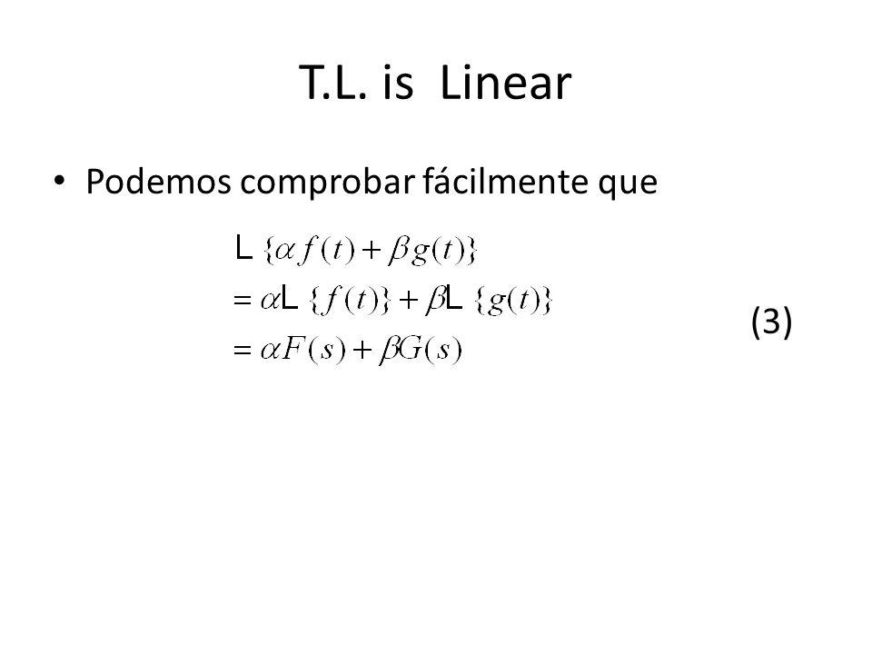 T.L. is Linear Podemos comprobar fácilmente que (3)
