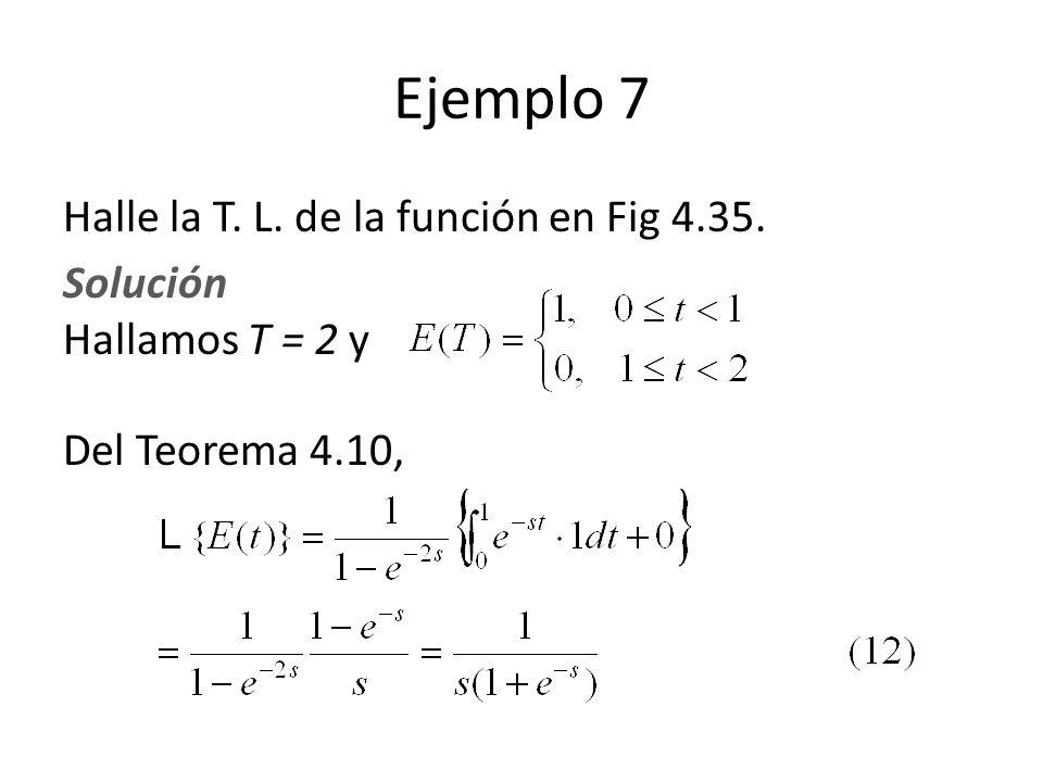 Halle la T. L. de la función en Fig 4.35. Solución Hallamos T = 2 y Del Teorema 4.10, Ejemplo 7
