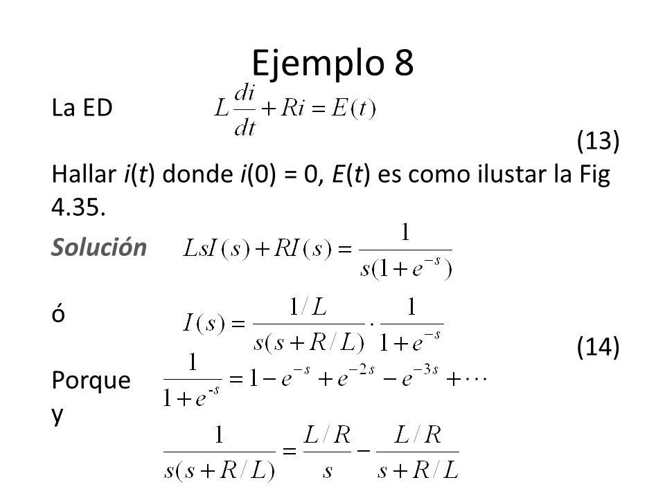 Ejemplo 8 La ED (13) Hallar i(t) donde i(0) = 0, E(t) es como ilustar la Fig 4.35.