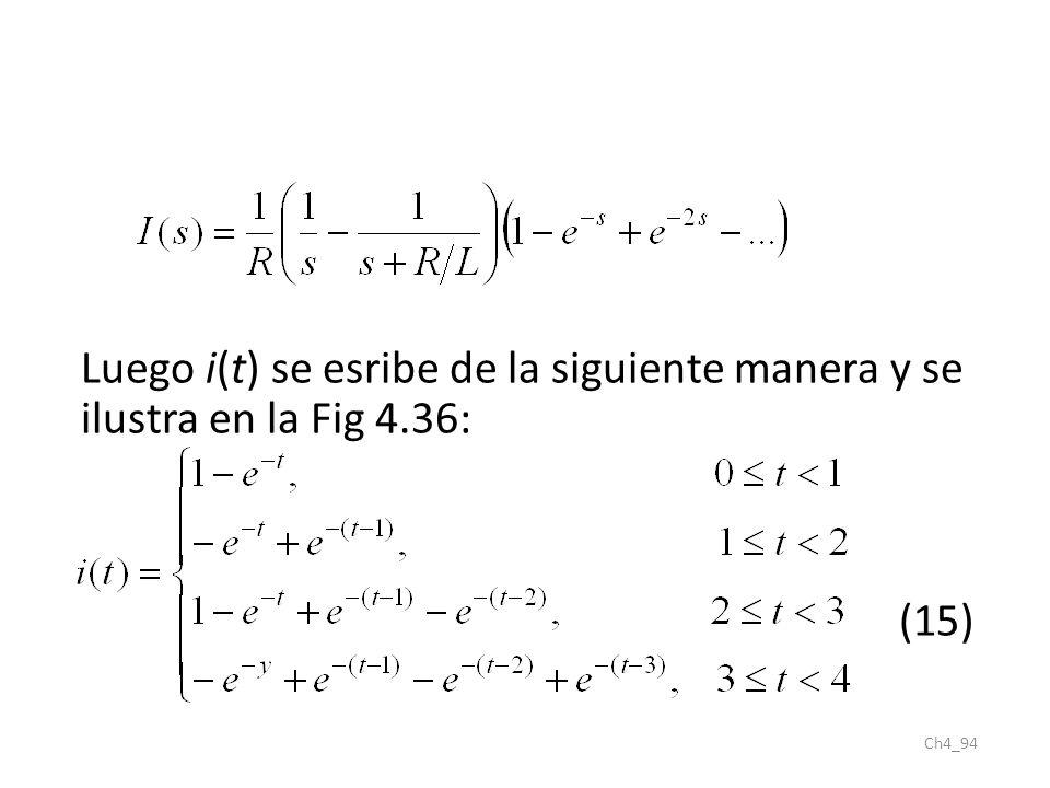 Ch4_94 Luego i(t) se esribe de la siguiente manera y se ilustra en la Fig 4.36: (15)