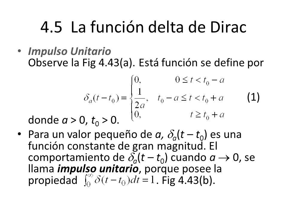 4.5 La función delta de Dirac Impulso Unitario Observe la Fig 4.43(a).