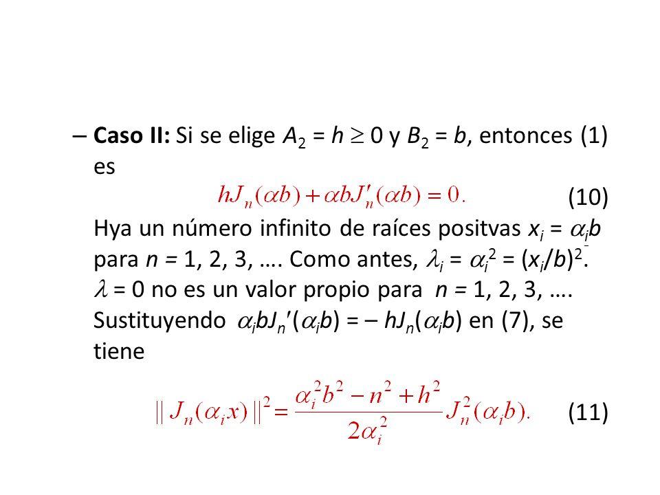 – Caso II: Si se elige A 2 = h 0 y B 2 = b, entonces (1) es (10) Hya un número infinito de raíces positvas x i = i b para n = 1, 2, 3, ….