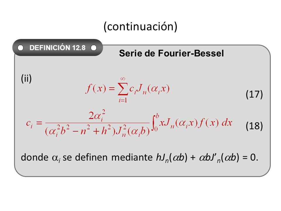 (continuación) (ii) (17) (18) donde i se definen mediante hJ n ( b) + bJ n ( b) = 0.