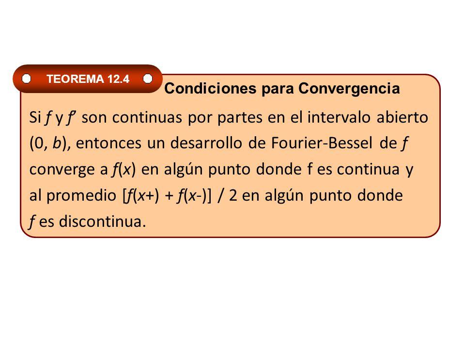 Si f y f son continuas por partes en el intervalo abierto (0, b), entonces un desarrollo de Fourier-Bessel de f converge a f(x) en algún punto donde f es continua y al promedio [f(x+) + f(x-)] / 2 en algún punto donde f es discontinua.