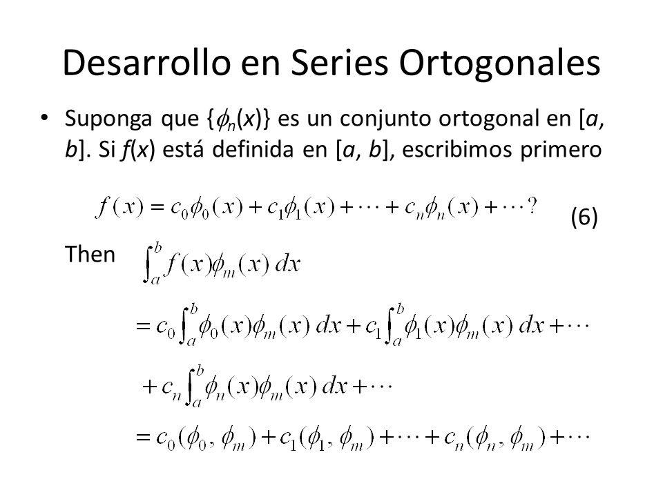 Desarrollo en Series Ortogonales Suponga que { n (x)} es un conjunto ortogonal en [a, b].