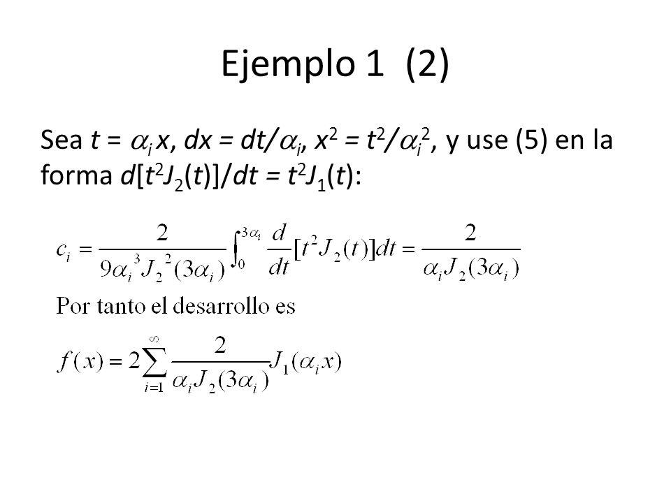 Ejemplo 1 (2) Sea t = i x, dx = dt/ i, x 2 = t 2 / i 2, y use (5) en la forma d[t 2 J 2 (t)]/dt = t 2 J 1 (t):