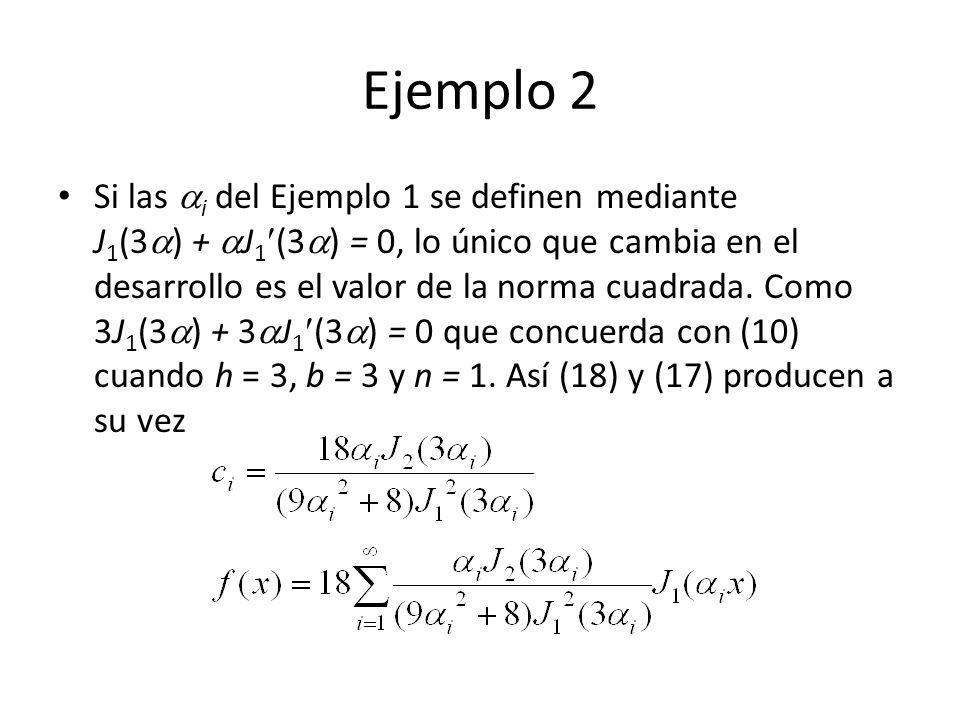 Ejemplo 2 Si las i del Ejemplo 1 se definen mediante J 1 (3 ) + J 1 (3 ) = 0, lo único que cambia en el desarrollo es el valor de la norma cuadrada.