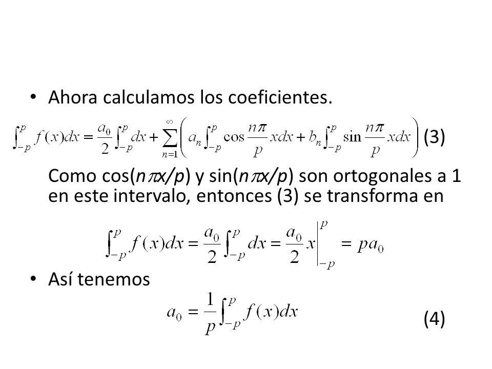 Ahora calculamos los coeficientes.
