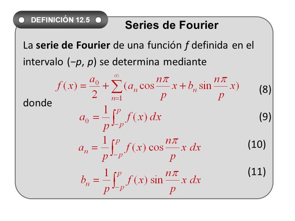 La serie de Fourier de una función f definida en el intervalo (p, p) se determina mediante (8) donde (9) (10) (11) DEFINICIÓN 12.5 Series de Fourier