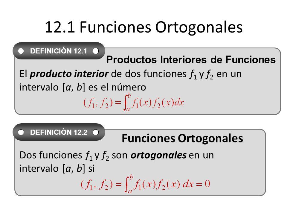 12.1 Funciones Ortogonales El producto interior de dos funciones f 1 y f 2 en un intervalo [a, b] es el número DEFINICIÓN 12.1 Productos Interiores de Funciones Dos funciones f 1 y f 2 son ortogonales en un intervalo [a, b] si DEFINICIÓN 12.2 Funciones Ortogonales