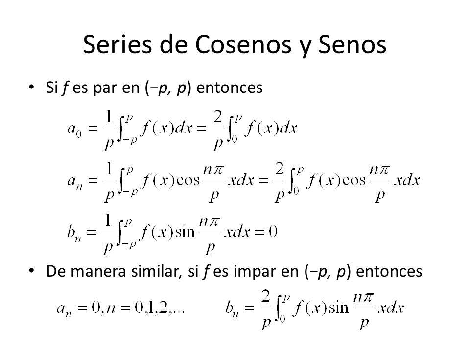 Series de Cosenos y Senos Si f es par en (p, p) entonces De manera similar, si f es impar en (p, p) entonces