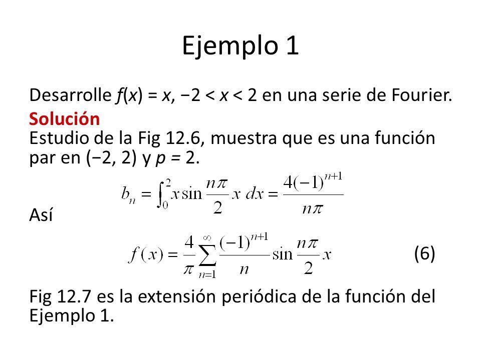 Ejemplo 1 Desarrolle f(x) = x, 2 < x < 2 en una serie de Fourier.
