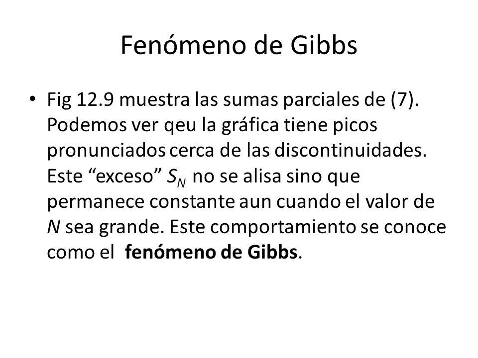 Fenómeno de Gibbs Fig 12.9 muestra las sumas parciales de (7).