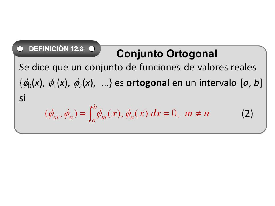 Se dice que un conjunto de funciones de valores reales { 0 (x), 1 (x), 2 (x), …} es ortogonal en un intervalo [a, b] si (2) DEFINICIÓN 12.3 Conjunto Ortogonal