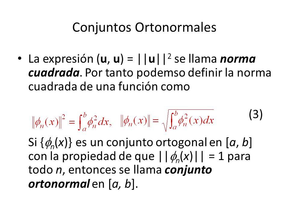 Conjuntos Ortonormales La expresión (u, u) = ||u|| 2 se llama norma cuadrada.