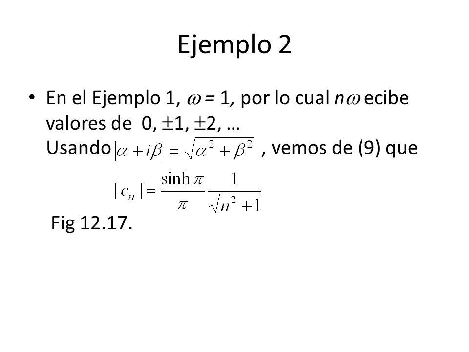 Ejemplo 2 En el Ejemplo 1, = 1, por lo cual n ecibe valores de 0, 1, 2, … Usando, vemos de (9) que Fig 12.17.