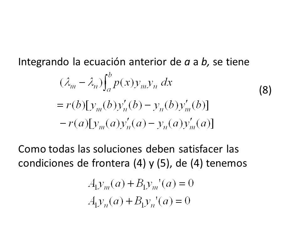 Integrando la ecuación anterior de a a b, se tiene (8) Como todas las soluciones deben satisfacer las condiciones de frontera (4) y (5), de (4) tenemos